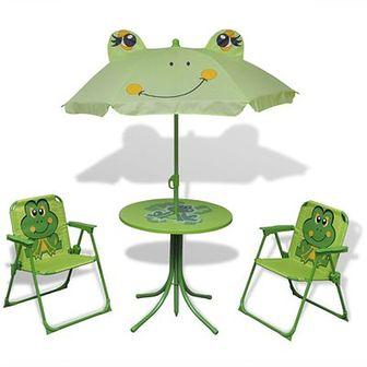 Dziecięcy zestaw mebli do ogrodu, z parasolem, zielony