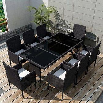Zestaw mebli ogrodowych, 17 części, polirattanowy, czarny