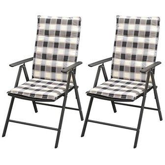 Sztaplowane krzesła z poduszkami, 2 szt., polirattan, czarne