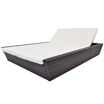 Dwuosobowy leżak ogrodowy z poduszką, polirattan, brązowy