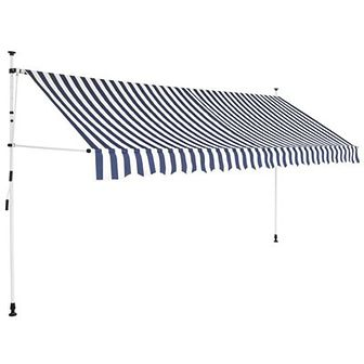 Markiza zwijana ręcznie, 400 cm, niebiesko-białe pasy