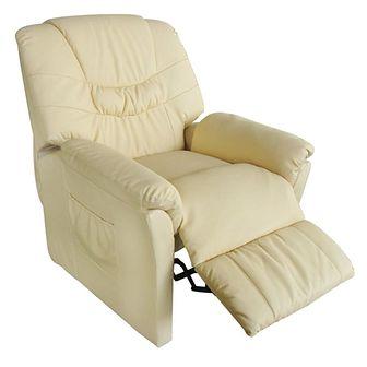 Fotel masujący ze sztucznej skóry, kremowy