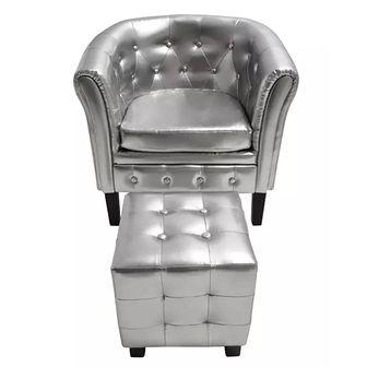 Półokrągły fotel z podnóżkiem, skóra syntetyczna, srebrny