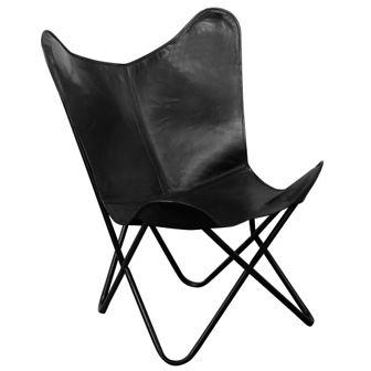 Krzesło Butterfly prawdziwa skóra, czarne
