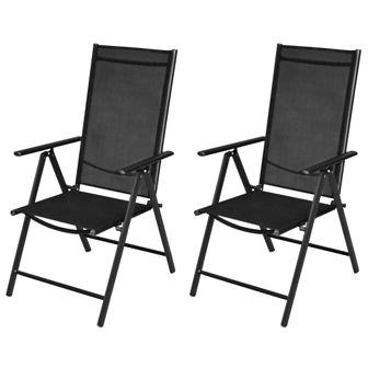 Składane krzesła ogrodowe, 2 szt., aluminium/textilene, czarne