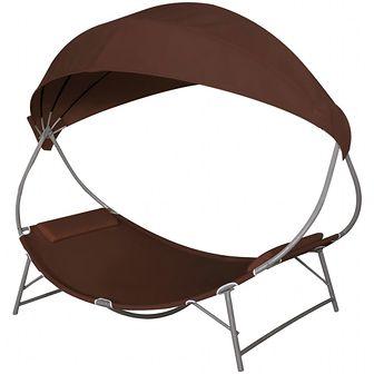 Leżak z baldachimem, brązowy