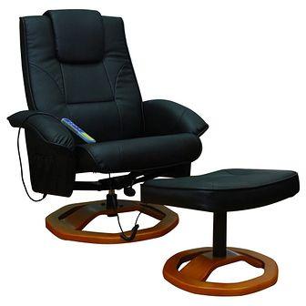 Fotel do masażu, Resoga, z podnóżkiem, czarny