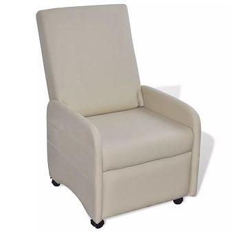 Fotel składany, skóra syntetyczna, kremowy