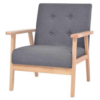 Fotel tapicerowany materiałem, ciemnoszary