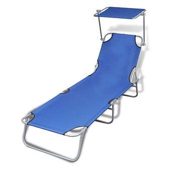 Składany leżak z zadaszeniem, stal i tkanina, niebieski
