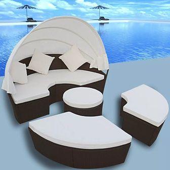 Łóżko ogrodowe z baldachimem, polirattan, brązowe