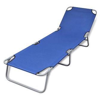 Składany leżak, stal malowana proszkowo, niebieski