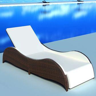 Leżak z poduszką, polirattan, brązowy