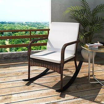 Fotel bujany ogrodowy, rattan PE, brązowy