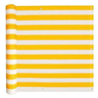 Parawan balkonowy, HDPE, 90x600 cm, żółto-biały