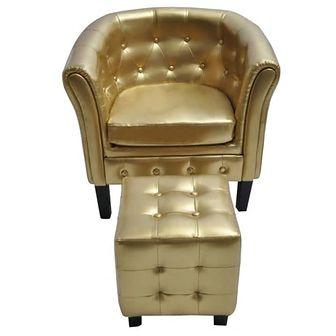 Półokrągły fotel z podnóżkiem, skóra syntetyczna, złoty