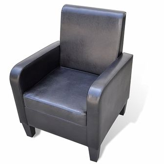 Fotel ze sztucznej skóry, czarny