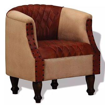 Fotel, skóra prawdziwa oraz tkanina brązowa i beżowa