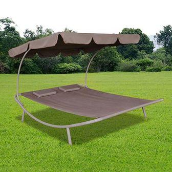 Leżak ogrodowy z baldachimem i poduszkami, brązowy