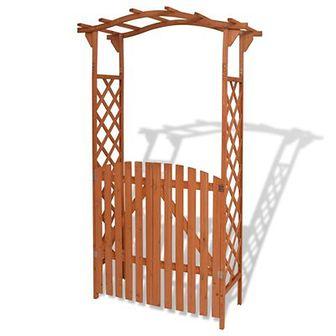 Pergola ogrodowa z bramką, lite drewno, 120 x 60 x 205 cm