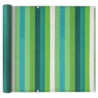 Parawan balkonowy z tkaniny oxford, 75x400 cm, zielone paski