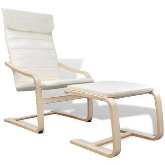 Fotel z ramą z giętego drewna, materiałowy, kremowy