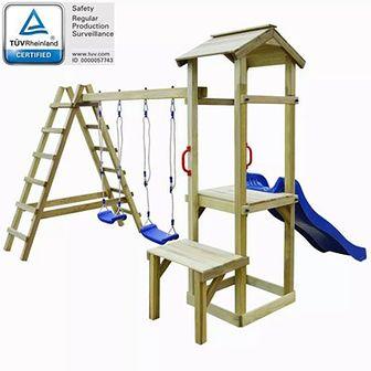 Plac zabaw ze zjeżdżalnią, drabinami i huśtawkami, drewno FSC