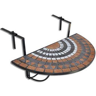 Półokrągły, wiszący stolik balkonowy, mozaika