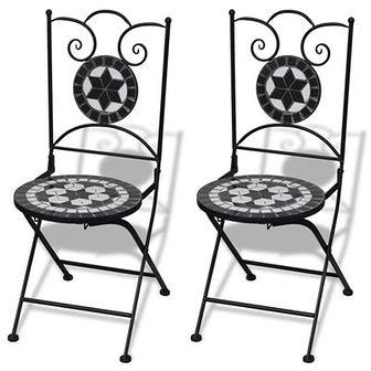 Składane krzesła bistro, 2 szt., ceramiczne, czarno-białe