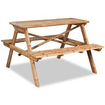 Stół piknikowy bambusowy 120x120x78 cm
