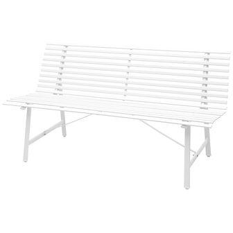 Ławka ogrodowa, 150 cm, stalowa, biała