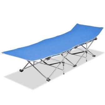 Składany leżak, niebieski, stal, 186 x 67,5 x 49 cm