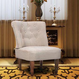 Fotel francuski, kremowy, materiałowy