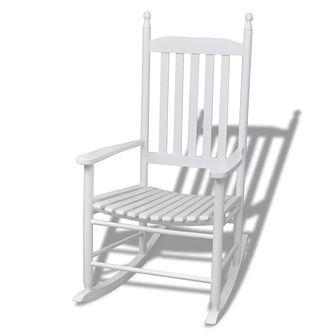 Fotel bujany z wygiętym siedziskiem, drewniany, biały