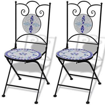 Składane krzesła bistro, 2 szt., ceramiczne, niebiesko-białe