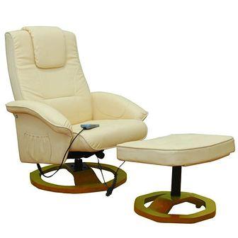 Fotel do masażu Resoga  z podnóżkiem, kremowy
