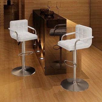 Stołki barowe z podłokietnikami, 2 szt., białe