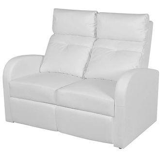 Rozkładane fotele kinowe dla 2 osób, eko-skóra, białe