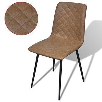 Krzesła do jadalni 2 szt ekoskóra brązowa