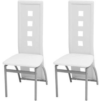 Krzesła do jadalni ze sztucznej skóry, białe 2 szt.