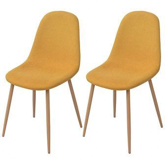 Krzesło do jadalni 2 szt., tkanina, żółta