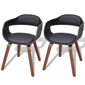 Krzesła do jadalni, 2 szt., gięta rama z drewna i eko-skóra