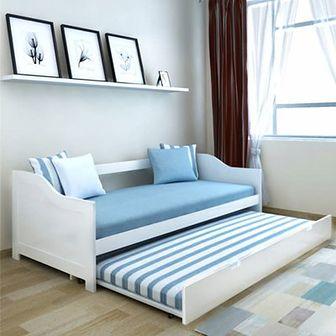Wysuwane łóżko sosnowe/sofa 200x90 cm Białe