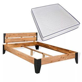 Łóżko z materacem memory, lite drewno akacjowe,180 x 200 cm