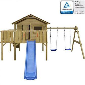 Domek dla dzieci z drabinką, zjeżdżalnią i huśtawkami, z drewna