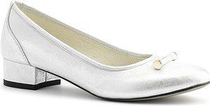 Biało-srebrne skórzane baleriny z ozdobą na przodzie 57L