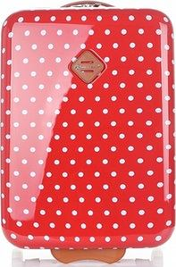 Modne Walizki Kabinówki w kropki marki Snowball Czerwone (kolory)