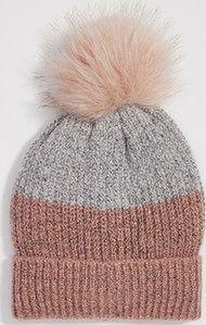 Sinsay - Dwukolorowa czapka z pomponem - Różowy