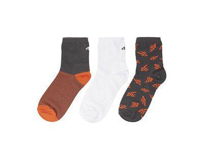 Skarpetki (3 pary) dla dużych dzieci (chłopców) JSOM202 - ciemny szary+biały+pomarańcz