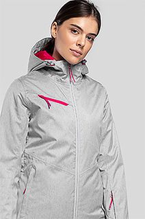 Kurtka narciarska damska KUDN302 - chłodny jasny szary melanż
